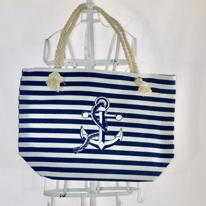 BLUE AND WHITE ANCHOR TOTE